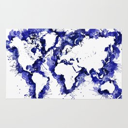 Navy blue watercolor world map with strokes Rug