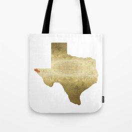 el paso hearts texas map gold foil Tote Bag