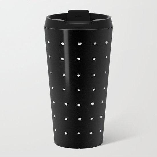 Dot Grid White on Black Metal Travel Mug
