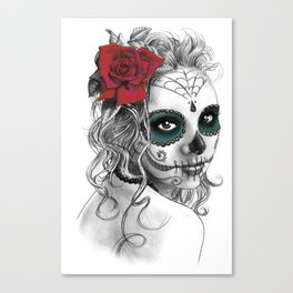 Catrina with red rose Canvas Print