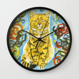 cat and grass Wall Clock
