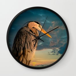 Great Blue Heron and Blue Sunset Wall Clock