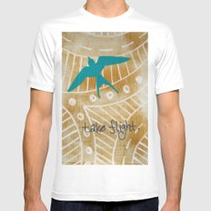 Take Flight MEDIUM White Mens Fitted Tee