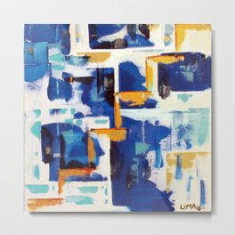 Stairway to Heaven: Abstract Acrylic Painting with blue and white and orange colors Metal Print