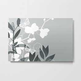 PPG Night Watch Pewter Green Botanicals and Butterflies Graphic Design Metal Print