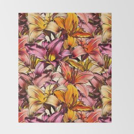 Daylily Drama - a floral illustration pattern Throw Blanket