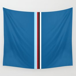 Pure Racing - Simple Lines on Blue Wall Tapestry