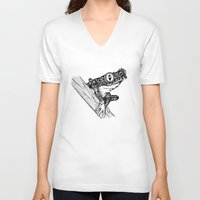 frog V-neck T-shirts featuring Frog by Emma Barker