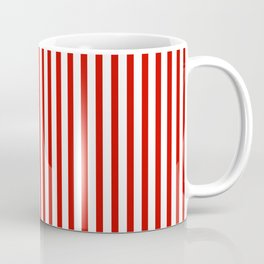 Red & White Maritime Vertical Small Stripes - Mix & Match with Simplicity of Life Kaffeebecher