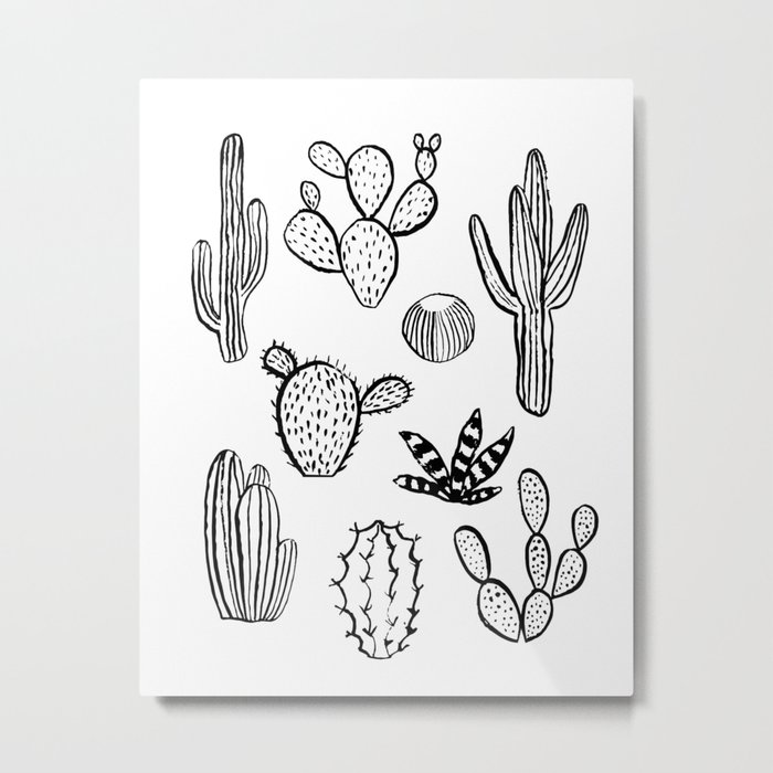 Cactus desert southwest palm springs festival house plant succulent terrarium black and white art Metal Print