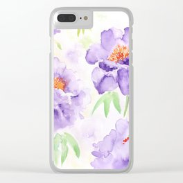 Watercolor Blue Peony flowers Clear iPhone Case