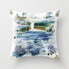 Abstract rock pool in the rough rocks Throw Pillow