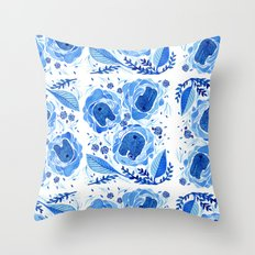 Inside Blue Roses Throw Pillow