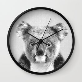 Koala - Black & White Wall Clock