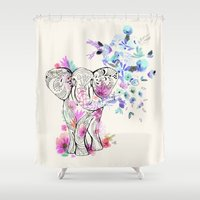 ornate elephant Shower Curtains featuring Playful Elephant by CRYSTAL WALEN