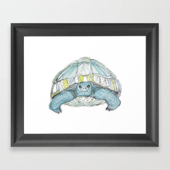 Turquoise Tortoise Illustration Framed Art Print