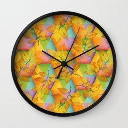 Harlequin Rainbow Leaves Wall Clock