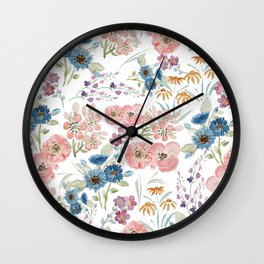 Watercolor field floral hand paint Wall Clock