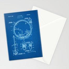 1963 Motorized Unicycle Patent - Blueprint Style Stationery Cards