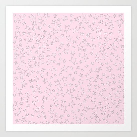 Grey handpainted little stars on pink background Art Print