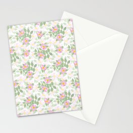Pink Dogroses on White Stationery Cards
