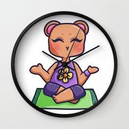 Yoga Bear Teddy Grizzly animal Meditation Gift Wall Clock