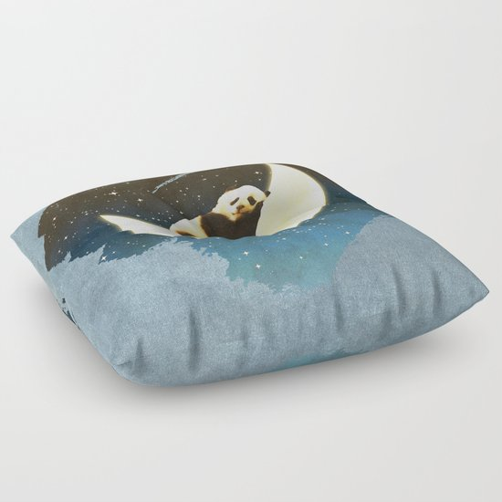 Sleeping Panda on the Moon Floor Pillow by Octavia Soldani Society6