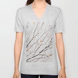 Snowy birch twigs and leaves #society6 #decor #buyart Unisex V-Neck