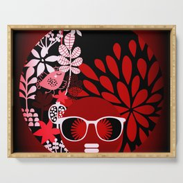 Afro Diva : Sophisticated Lady Red Serving Tray