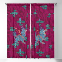 Foo Dragon on Magenta Blackout Curtain