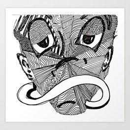 Mask #3: Mr. Time (B&W) Art Print