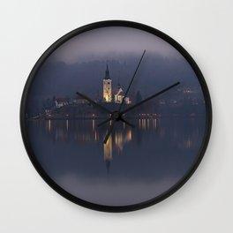 Misty Lake Bled At Night Wall Clock