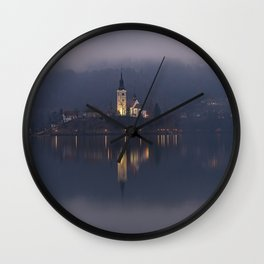 Misty Lake Bled At Night Wall Clock