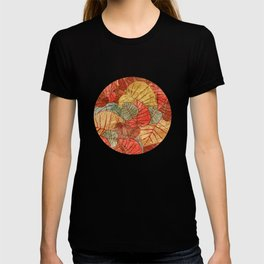 Leaves in Rosy Background 4 T-shirt