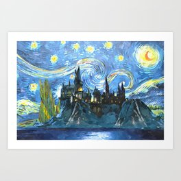 Starry Night in Hogwarts Castle - HP Art Print