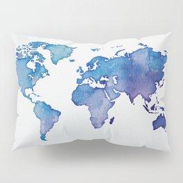 Blue World Map 02 Pillow Sham