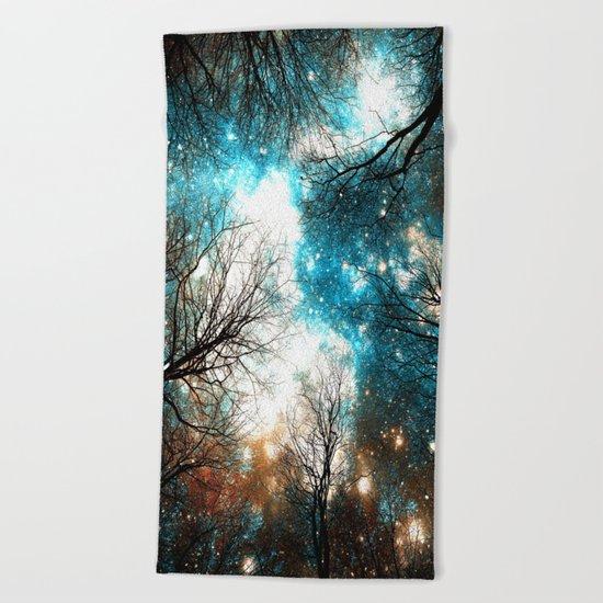 Black Trees Turquoise Brown Space Beach Towel