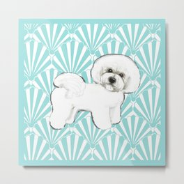 Bichon Frise at the beach / seashell blue Metal Print
