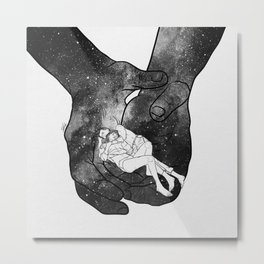 Warm lovers hug. Metal Print