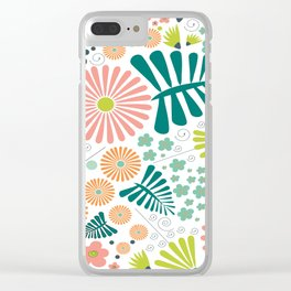 Whimsical flowers - pink, white and green Clear iPhone Case