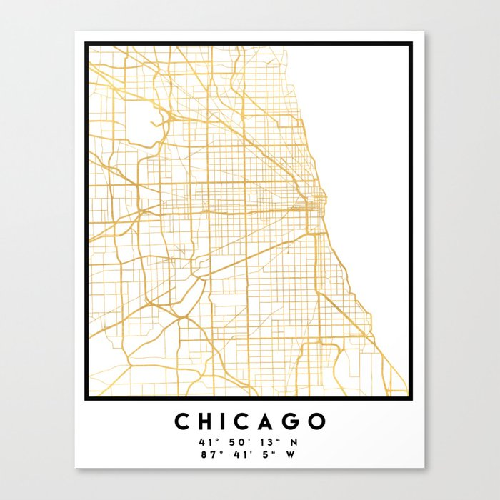 Chicago Map Canvas.Chicago Illinois City Street Map Art Canvas Print By Deificusart