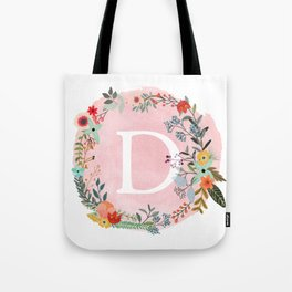 Flower Wreath with Personalized Monogram Initial Letter D on Pink Watercolor Paper Texture Artwork Tote Bag