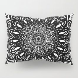 Bold Mandala Black and White Simple Minimal Minimalistic Pillow Sham