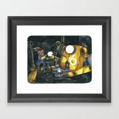 Moonbot #6: Yellow Framed Art Print