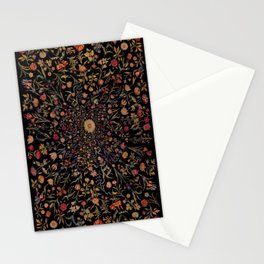 Medieval Flowers on Black Stationery Cards