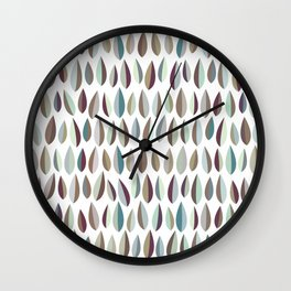 Mid-Century Modern Leaves Pattern Collection 2 Wall Clock