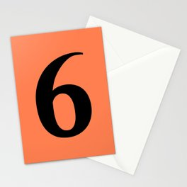 6 (BLACK & CORAL NUMBERS) Stationery Cards