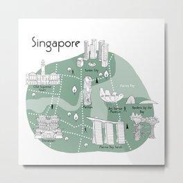 Mapping Singapore - Green Metal Print