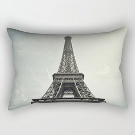 Black and White Eiffel Tower Rectangular Pillow