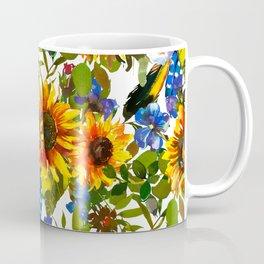 Navy blue yellow orange watercolor sunflower floral Coffee Mug